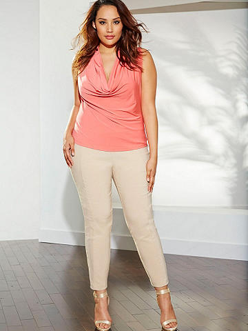 Everyday Sexy Pant PLUS - From day to date, from the office to cocktail hour--this is your go-to skinny pant that works with everything in your wardrobe. In a flirty ankle style to pair with your favorite heels. With back zipper and button closure. Polyester/spandex. USA.