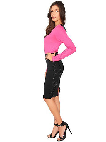 Lace-Up Pencil Skirt - The pencil skirt goes from classic to sexy with a biker girl edge. Racy lace-up sides bring the appeal on this figure-hugging style. The ties adjust to your comfort and create an hourglass design. Polish off your look with stiletto booties or a peep-toe pump. Zip back. Polyester/spandex. Imported.