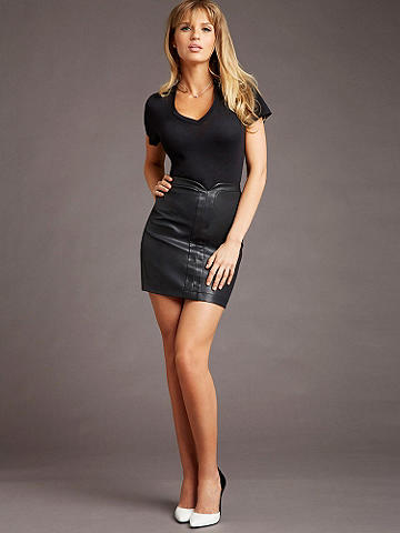 Pleather Mini Skirt - This wardrobe essential mini pairs with everything and takes your sex appeal over the top. Zip back. Polyester/spandex. Imported.