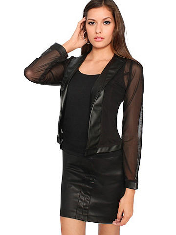 NEW Pleather & Mesh Jacket - A sleek, cutting-edge blazer touched with sex appeal--we think it's the perfect way to update your spring wardrobe. The open-front style is a mix of pleather and mesh; it pairs perfectly with minis and leggings. Polyester/spandex. Imported.