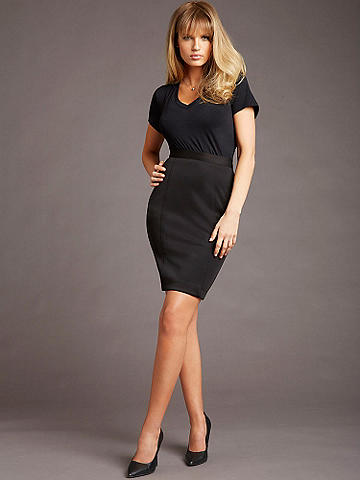 Classic Pencil Skirt - Because every girls needs the perfect pencil skirt. Richly textured in a beautiful fabric, this modern update hugs your curves and defines your figure. Wear it by day with a blazer or cardigan and pumps. Or rock it at night with a sexy tank and stiletto sandals. Zip back. Polyester/spandex. Imported.