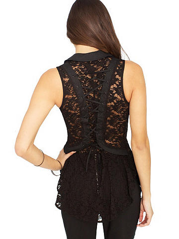 Jewel Button Lace Top - A fresh, new take on our love affair with lace. Flowing, sleeveless style with lace-up back, collar and jewel buttons. Perfect over leggings and paired with your favorite bootie. Polyester/spandex. Imported.