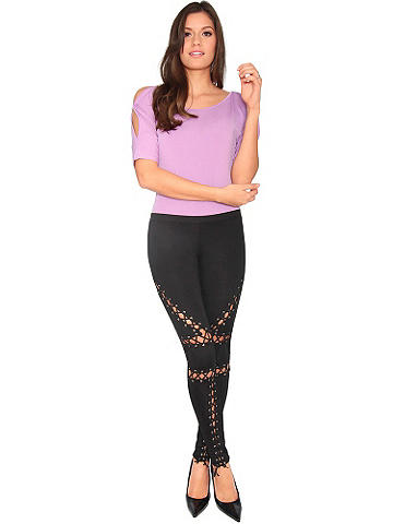 Lace-Up Legging - A must-have legging for the season goes racy with lace-up sides. Rock it with a leather or jean jacket and boots. Polyester/spandex. Imported.