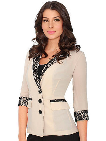Chiffon & Lace Blazer - Everyday suiting gets a feminine update for the new season. An ideal wardrobe-essential blazer, this chic style layers over tanks and camis with ease. Lapels, pocket flaps and cuffs in contrasting black lace. Three button-front. Polyester. Imported.