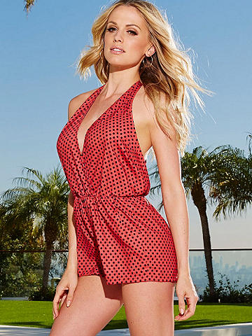 Sexy Summer Print Romper - A deep low neckline and a sexy open back create the perfect blend of flirty and fashionable. Light flowy fabric gives a boho vibe for a relaxed, yet sensual look for summer. It features: 