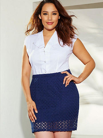 "Crochet Lace Skirt PLUS - We've blended modern with classic with our soft, summery and versatile crochet lace skirt. Perfect for ""ladies who lunch."" Feminine features include: 