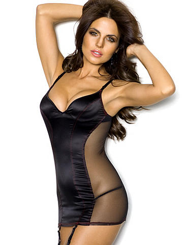 Stretch Satin & Fishnet Chemise