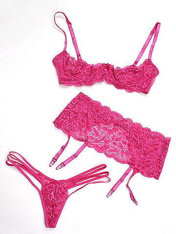 Lace Shelf Bralette & Strappy Thong Set