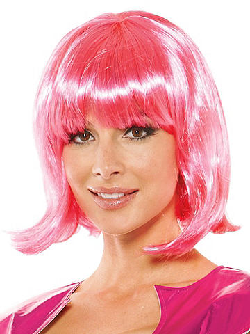 "Cheryl Wig - Frederick's girls aren't just pretty in pink—they're wildly hot. Here's a way to make your next masquerade sexier than ever. Hot pink bobbed wig is accented with sassy bangs. 13"" length. Imported."