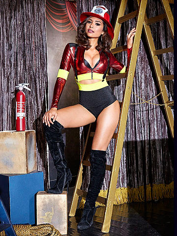 Hottie Firefighter Costume - Fan the flames of flirtation in this shimmering two- piece costume! Featuring a cropped jacket with zip front and a pull-on high waist hot pant. Removable/adjustable suspenders. Polyester/spandex. Imported.