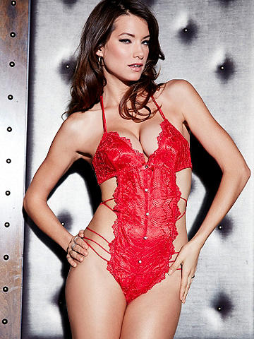 Strappy Lace Halter Teddy - A one piece that shows just the right amount of skin, this teddy mixes romance with seduction for unforgettable nights. Accentuating your curves with its body-baring design, it features: 
