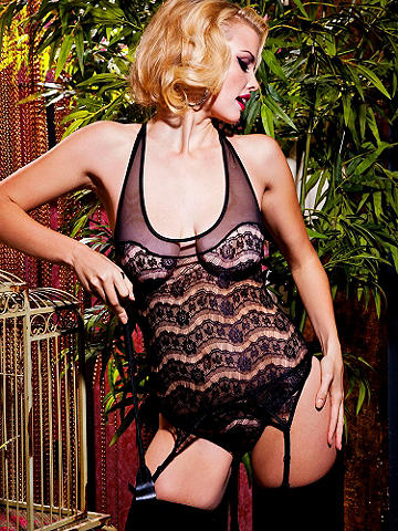 Gartered Lace Tank & Panty Set - Lacy, racy and sheerly sexy! Flaunt your body with the curve-hugging design of this mesh & lace gartered tank set. Racerback tank and matching panty with adjustable/movable garters. Add stockings and a crimson kisser for glamorous late-night lounging. Nylon/spandex. Imported.