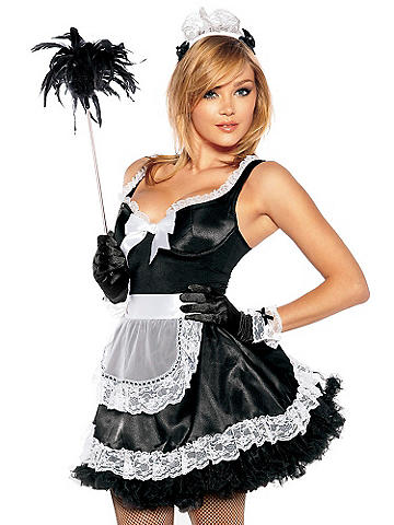 French Maid Costume - Spice up your night with our flirty French Maid costume. Mini dress with faux button detail has underwire and boning for shape. Crinoline skirt with lace ruffle hem provides fullness. Includes lace collar and wristlets. Polyester/spandex. Imported.