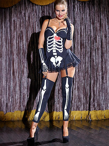 Sexy Skeleton - Be a bone-afide babe in this edgy little mini! Featuring a cleavage-boosting bustier top with padded underwire cups. Pair with towering stilettos and get ready to stop traffic. Includes, skirt, gloves and gartered leggings. Polyester. Imported.