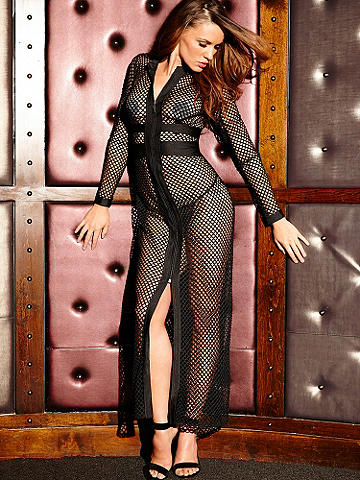 Zipper Fishnet Gown - Lingerie that commands attention each time you slip it on—and leaves an impression that won't be forgotten. Large fence fishnet gown with center slit. Zip-up front with microfiber insets. Polyester/spandex. Imported.