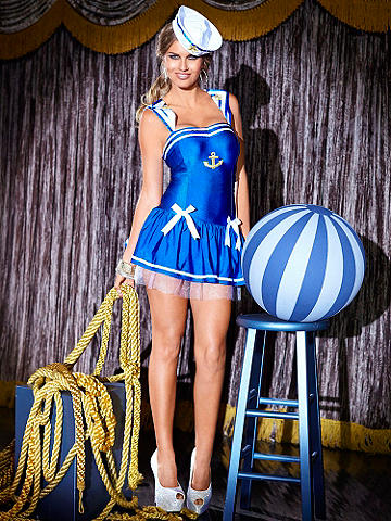 Pin-Up Sailor Girl - Chic ahoy! Set sail for sexy this Halloween in a sweet n' sassy mini dress. Featuring maritime stripe accents and embroidered anchor and stars—it's just right for an evening of seafaring fun. Add mermaid waves and a flirty pair of stockings to finish your look. Adjustable shoulder straps. Comes with hat. Nylon/spandex. Imported.