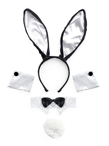 Bombshell Bunny Kit - Irresistibly sexy and undeniably playful, this bunny kit has all you need to create the perfect costume! We suggest slipping into something sparkling to standout. The set includes: Bunny ears and tail, Fancy bowtie, and Wrist cuffs. Polyester. Imported.