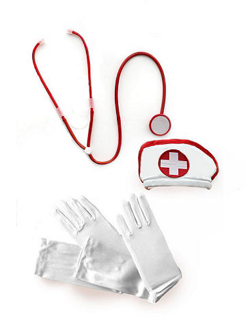 Sexy Nurse Costume Kit - Say ahhh! This tempting outfit finisher includes all accessories you need to fulfill your every fantasy. Add a curve-creating corset, ruffled shorts and have an unforgettable evening. The kit includes: a headpiece, stethoscope and gloves. Polyester. Imported.