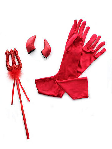 Daring Devil Kit - Get in touch with your sizzling side! This red-hot kit has all the features you need to transform your night into something delightfully sinful. The set includes horns, pitchfork and gloves. Pair it with a red corset and tutu to turn the heat up. Polyester. Imported.
