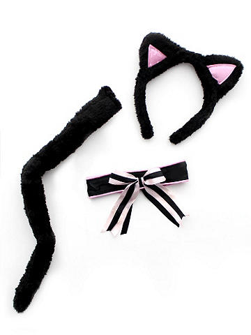 Captivating Kitty Kit - Be a bold kitten in this must-have set! You'll look simply purr-fect at every party. Mix and match it with one our sleek dresses, or one of your own! It includes: Cat ears, neckpiece and luxurious tail. Polyester. Imported.