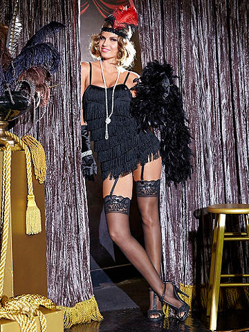 Foxy Flapper Costume - All that jazz! Go back in time to a roaring era in this sexy, vintage style. Includes fully lined, fringe and sequin dress and sequin headband. Top off your look with a bob-style wig, fishnet pantyhose and heels! Imported.