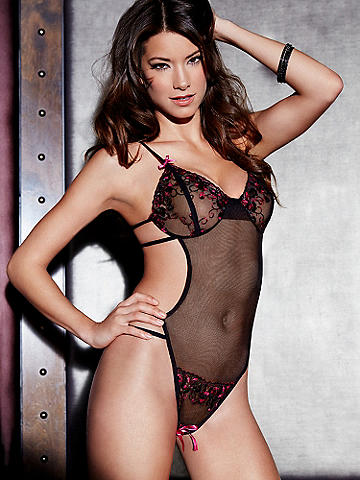 Split-Cup Open Panel Teddy - The sexiest teddy you can wear, touched with luxe lace and seductive strappy details. The sheer mesh style features: 