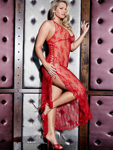 Heart Bling Lace Gown PLUS - Get into the glamorous spirit of Valentine's Day. Long lace gown is accented with lace-up on one side, heart bling accents and halter neckline. Matching G-string. Nylon/spandex. Imported.