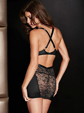 "Cutout Lace Chemise - ""X"" marks the spot for the ultimate in seductive glamour. This daring chemise with sexy side cutouts, mesh side panels and a luxe lace front both flatters and flaunts. Stunning features: 