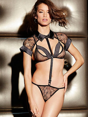 Sheer Temptation Teddy Set - Let your fantasies run wild. Our stunning 3-piece set features: A built-in split cup bra for even more appeal. A sheer cropped lace blouse to tempt. Finished with with adjustable straps and a sexy, sheer panty. Try Lace-top Fishnet Thigh Highs for even more daring. Imported.