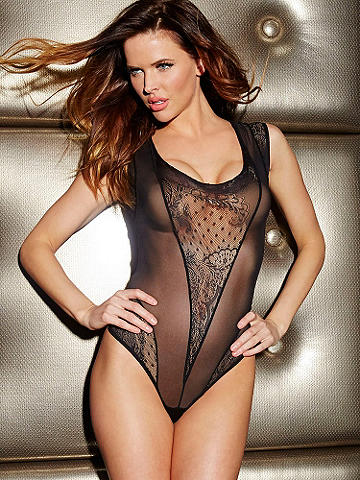 Microfiber & Lace Bodysuit - Dazzle from evening to after hours in this bodysuit designed for unforgettable nights, both in and out of the bedroom. Featuring an elegant mix of microfiber, mesh and patterned lace panels this bodysuit is set to stun. Features include: 