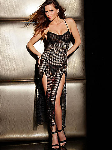 Fishnet Double Slit Gown - When night falls, you're the star. And this is the gown that brings the glamour. Stunning features include: