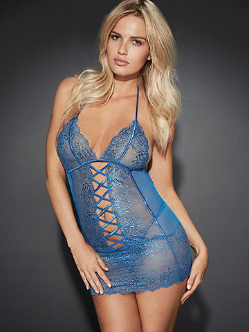 CrissCross Lace Chemise - Experience the ultimate in romance and luxury with this curve-hugging chemise. Beautifully detailed with:
