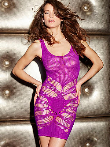 Seamless Open Patterned Chemise - New daring design. Fantasy inspiring features include a tantalizing mix of fishnet lace and cutout details designed to highlight your body and your curves, revealing tempting flashes of skin. Finished with an alluring scoop neckline. Make your look completely memorable with the Jacqueline Rhinestone Platform. Nylon/spandex. Imported.