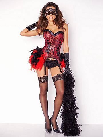 Burlesque Corset Costume - Put on a sexy little show of your own in our feather-adorned and appliquéd corset costume! You'll love its flirty features: