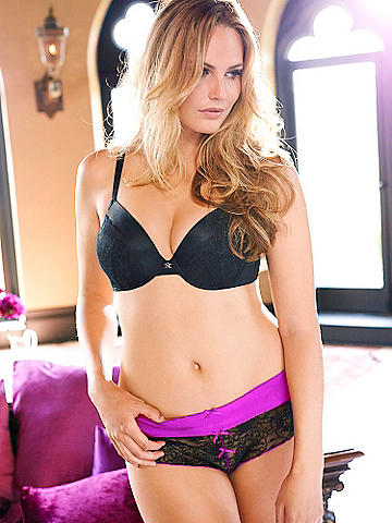 LACE OPEN PANEL PANTY PLUS - Make the evening a special occasion with a sheer-lace little panty. Styled with a satin waistband and contrasting, color-pop bows. Open panel design. Nylon/spandex. Imported.
